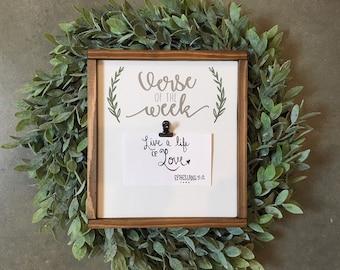 Verse of the Week Framed Clipboard | Framed Wood Scripture Wall Hanging | Bible Verse Home Decor