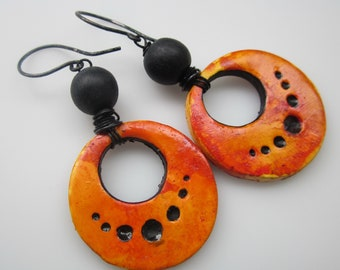 Biker Babe Black Dangle Earring Goth Leather Small Leather Earring Fringe Earring Tassel Black Tassel Earring Jet Black Earring