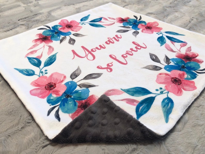 Baby Girl Lovey Gifts for Baby Double Minky Lovey Security Blanket 17x17 Minky Lovey for Baby You Are So Loved Lovey Minky Lovey