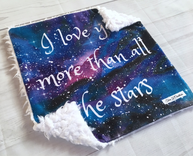 Galaxy Lovey-Space Lovey-17x17-Minky Lovey-Baby Boy Lovey-Baby Girl Lovey-Minky Lovie-Baby Gift-Security Blanket-I Love You More Than All