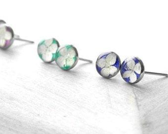 Tiny studs with real hydrangea flower girl gift Small blue post earrings women 6 mm Miniature purple jewelry for kids Pretty simple earrings