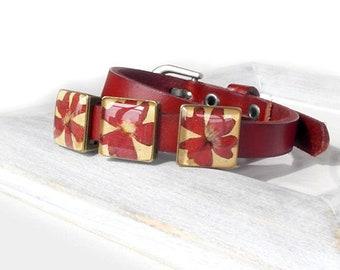 Stackable bracelet Red flower bracelet Flower resin jewelry for gift-for-mother of bride gift birthday present for her Orange bracelets her