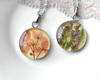 Flower necklace Small pendant Pressed flower jewelry Natural necklace for mother Tiny necklace chain pendant Classic necklace for girlfriend