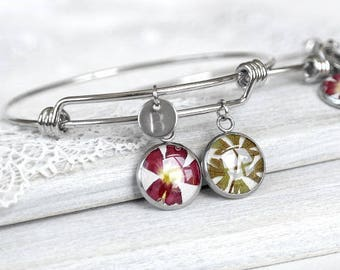 Personalized charm bracelet for sister Cuff bracelet couples gift bracelet for friend Initial gift Friendship gift Best friend bracelet set