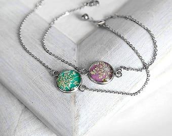 Friends couples gift for sister Graduation gift for daughter Gift idea bracelet Tiny bracelet for girlfriend Mint bracelet Purple bracelet
