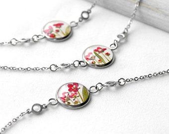 Flower statement bracelet Chain bracelet for gift womens Birthday bracelet dainty Best gift for friend Miniature bracelet Unique gift her