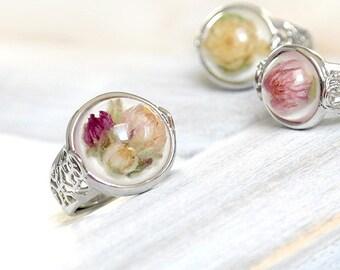 Real flower ring resin Heather flower terrarium ring women Pink floral ring girl Dry flower resin jewelry Botanical rings for vegan gift