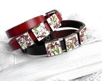 Red wrap bracelet Flowers bracelet valentines Love gift|for|women birthday gift bracelet for girlfriend Double bracelet brown Slide bracelet