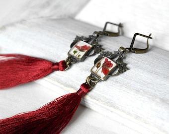 Long earrings Red tassel earrings Bird earrings for bride Wine red earrings Burgundy earrings Garnet earrings One of a kind jewelry for wife