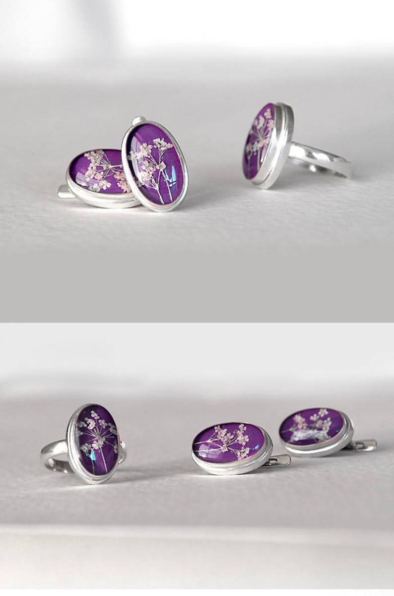 Oval silver earrings resin with real plant Purple floral ring image 0