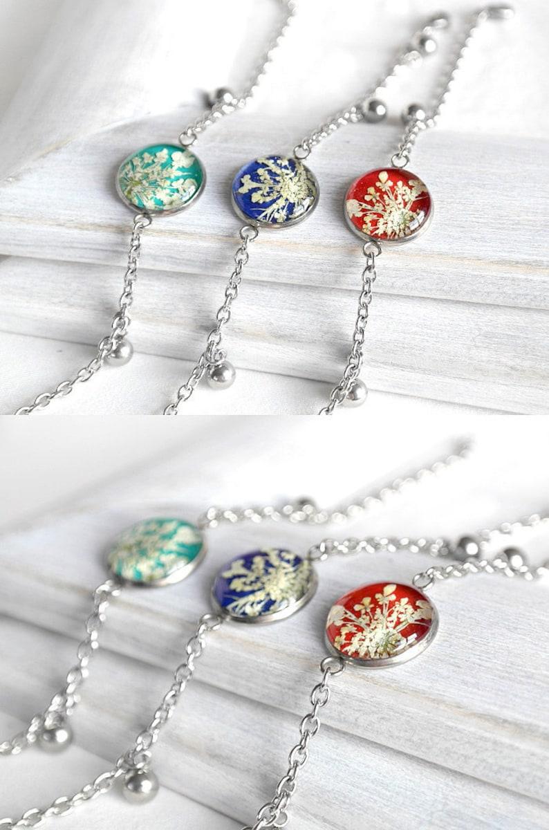 Floral charm bracelet Pressed flower red bracelet chain women image 0