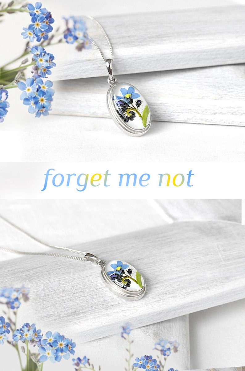 Forget me not necklace Sterling silver wedding anniversary gift for bride Real blue flower pendant resin Will you be my bridesmaid proposal