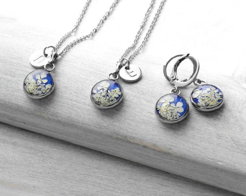 Blue floral jewelry set Personalized gift mother daughter image 0