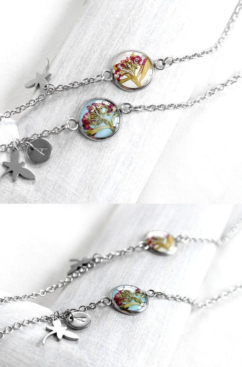 Personalized bracelet with real flower Initial charm bracelet image 1