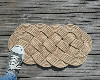 Jute Rope Door Mat. Prolong Knot. 23 x 12 inches. Indoor or dry outdoor.