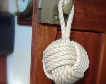 Rope Door Bumper, Handle Cushion Door Stop. Extra Large Monkey Fist Knot to prevent door handles hitting walls. Natural rope colour (beige).