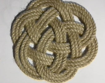 Nautical Knot Rope Coasters. Poly Hemp Yacht Rope, Hand Sewn. Sets of 4, 6 or 8 mats. No glue used.