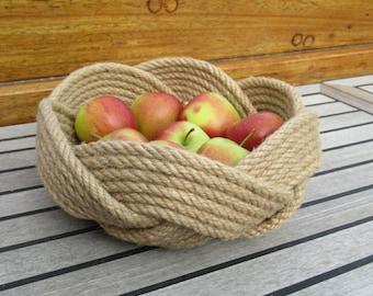 Natural Rope Fruit Basket, 10 inch Diameter.