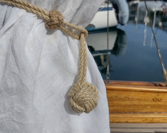 Small Rope Curtain Tie, Nautical, Adjustable, Monkey's Fist Knot, Beach Decor, Scandi. Buy as a single tie or as a pair.