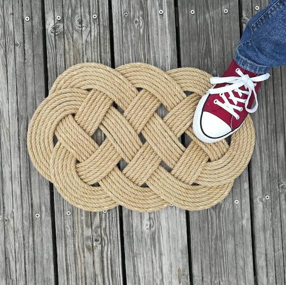 Nautical Rope Decor Items: Rope DoormatNautical Beach House Decor Ocean Plait Knot