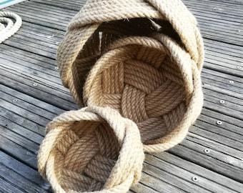 Nesting Natural Rope Baskets, Set of Three Rustic Fruit Bowls, Natural Jute Rope Celtic Knot. Modern Rustic Style. Gift Hamper Bases.
