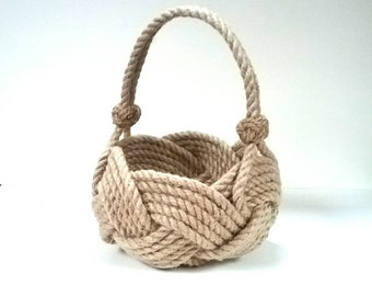 Flower Girl Basket, made with plant based rope. Perfect bridesmaid basket for nautical, coastal and rustic weddings.