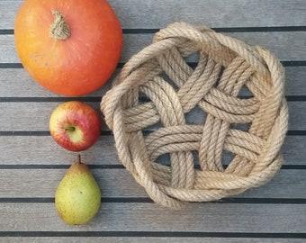 Celtic Knot Fruit Bowl, Rustic Handmade Basket, Natural Jute Rope, Coastal Style, Ideal Wedding Gift or Hamper Base. 8 inch dia.