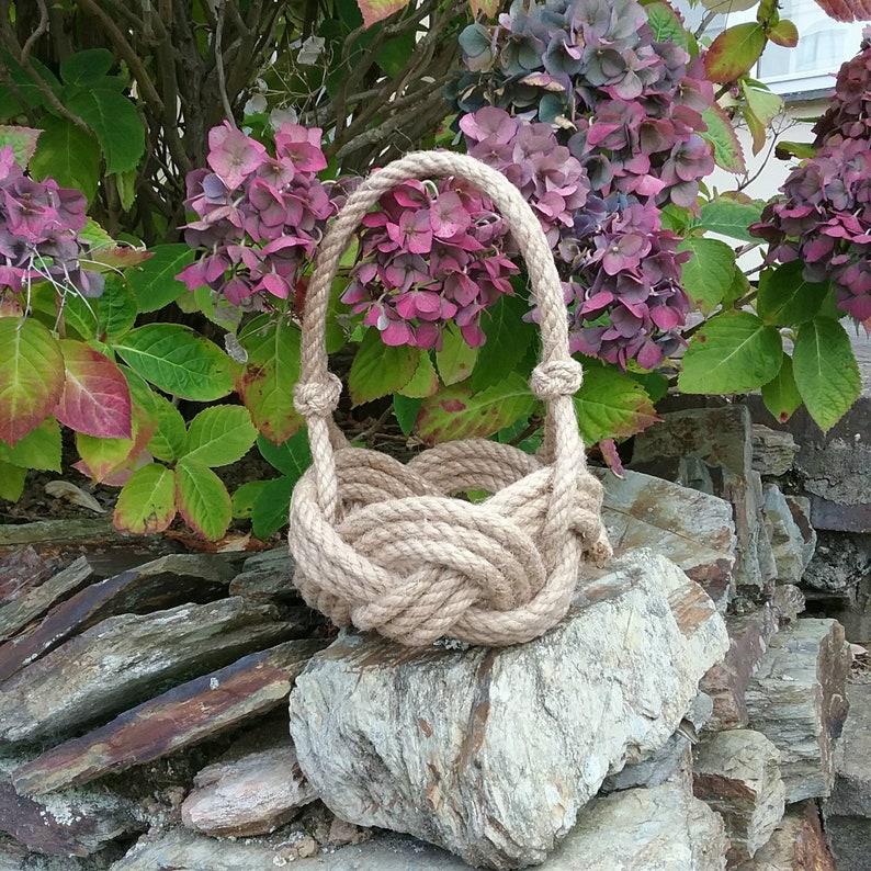 Jute Bridesmaids Basket Hand sewn Natural Rope Knot Nautical Wedding. Planter Beach Wedding Rustic Flower Girl Basket