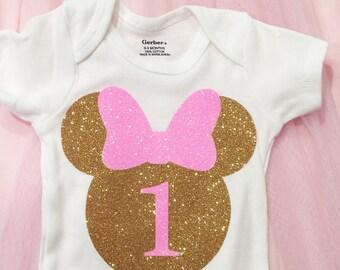 Minnie Mouse Birthday/Months onesie