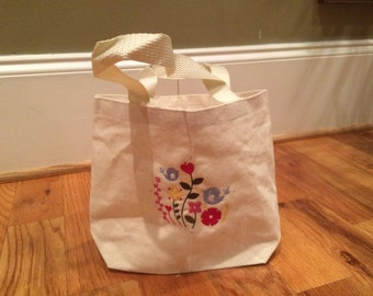 Cute Small Spring Bag with Birds & Flowers Embroidery