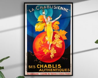 Vintage Poster La Chablisienne girl print french art nouveau orange blue