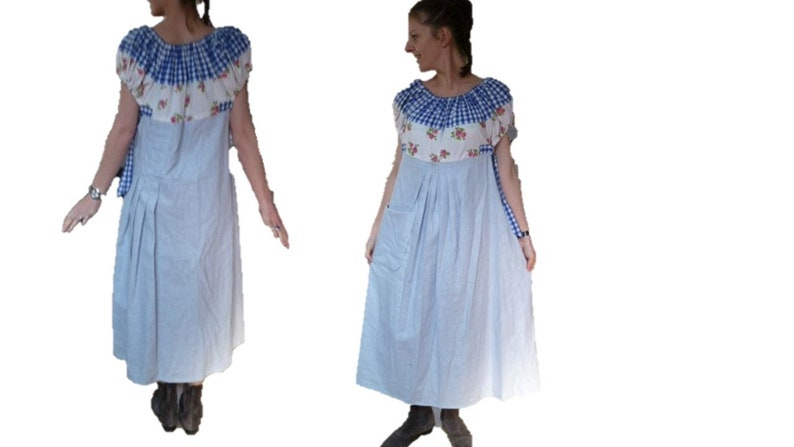 Maxi blue sky gingham shoulders bare and linen dress long boho loose small roses size 38 40 42