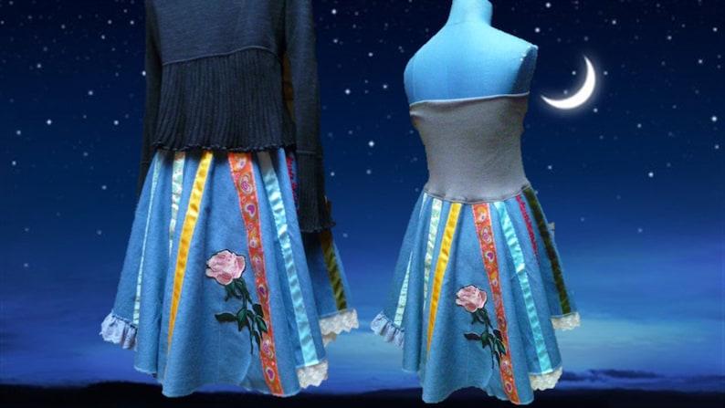 strapless asymmetrical Jean skirt multicolor patchworktextile art style size 38 40 42