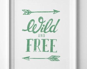 Best selling items, Wild and Free, wall art prints, green nursery printable, Digital art, kids room decor Typography print, mint green decor