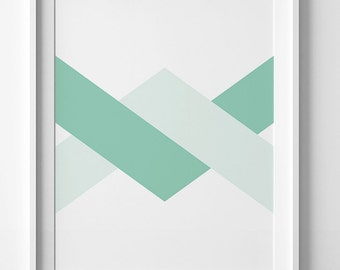 Mint chevron poster, green wall art print, modern decor, modern print, mint wall art, mint print, geometric print, geometric poster decor