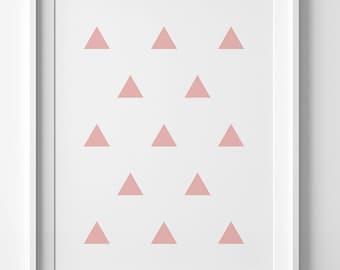 Printable wall art, pink print, pink printable art, Scandinavia design, wall print, minimalist poster, pink triangle print, pink wall art