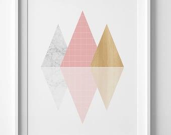 Arte contemporáneo, arte geométrico rosado, descargable arte de imprimir, para imprimir, impresión, montaña rosa pared arte, rosa pared impresión, rosa impresión