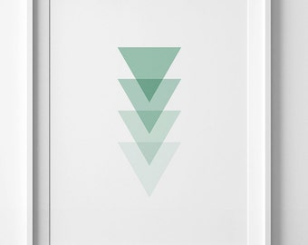 Mint print, mint green decor, mint wall art prints, green triangles print, geometric wall art, digital print, minimalist print, mint decor