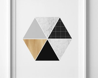 Hexagon print, geometric wall art print, printable art, Scandinavian print, modern art, abstract wall art geometric print affiche scandinave
