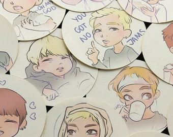 BTS Kpop meme STICKER SET | Rm, Jin, Jimin, Jungkook, V, Suga, JHope | Bangtan Boys | Stickers 50mm diameter