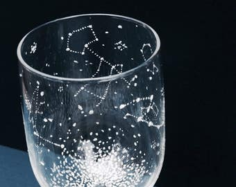 1 Starry Wine Glass - 1 Handpainted Star Constellation Wineglass