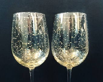 GOLD Set of 2 Starry Gold Wine Glasses - Handpainted Star Constellation Wine Glasses