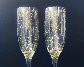 GOLD Starry Champagne Flutes - Set of 2 Handpainted GOLD Star Constellation Champagne Glasses - Custom Order Your Own Set