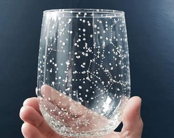 STEMLESS Starry Stemless Wine Glass - 1 Handpainted Star Constellation Wineglass