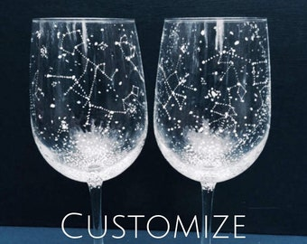 CUSTOMIZE Your Own Set of Starry Wine Glasses - Set of 2 Handpainted Star Constellation Wine Glasses