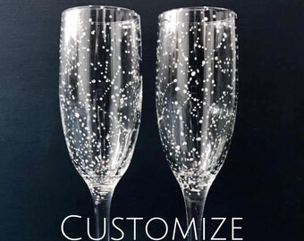 CUSTOMIZE Your Own Starry Champagne Flutes - Set of 2 Handpainted Star Constellation Champagne Glasses