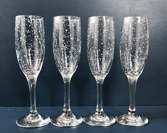 CLASSIC Starry Champagne Flutes - Set of 4 Handpainted Star Constellation Champagne Glasses - Custom Order Your Own Set