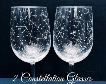 CLASSIC Starry Wine Glasses - Set of 2 Handpainted Star Constellation Wine Glasses