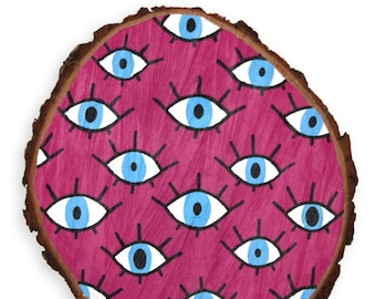 Blue Eye Wood Disc Art Deco