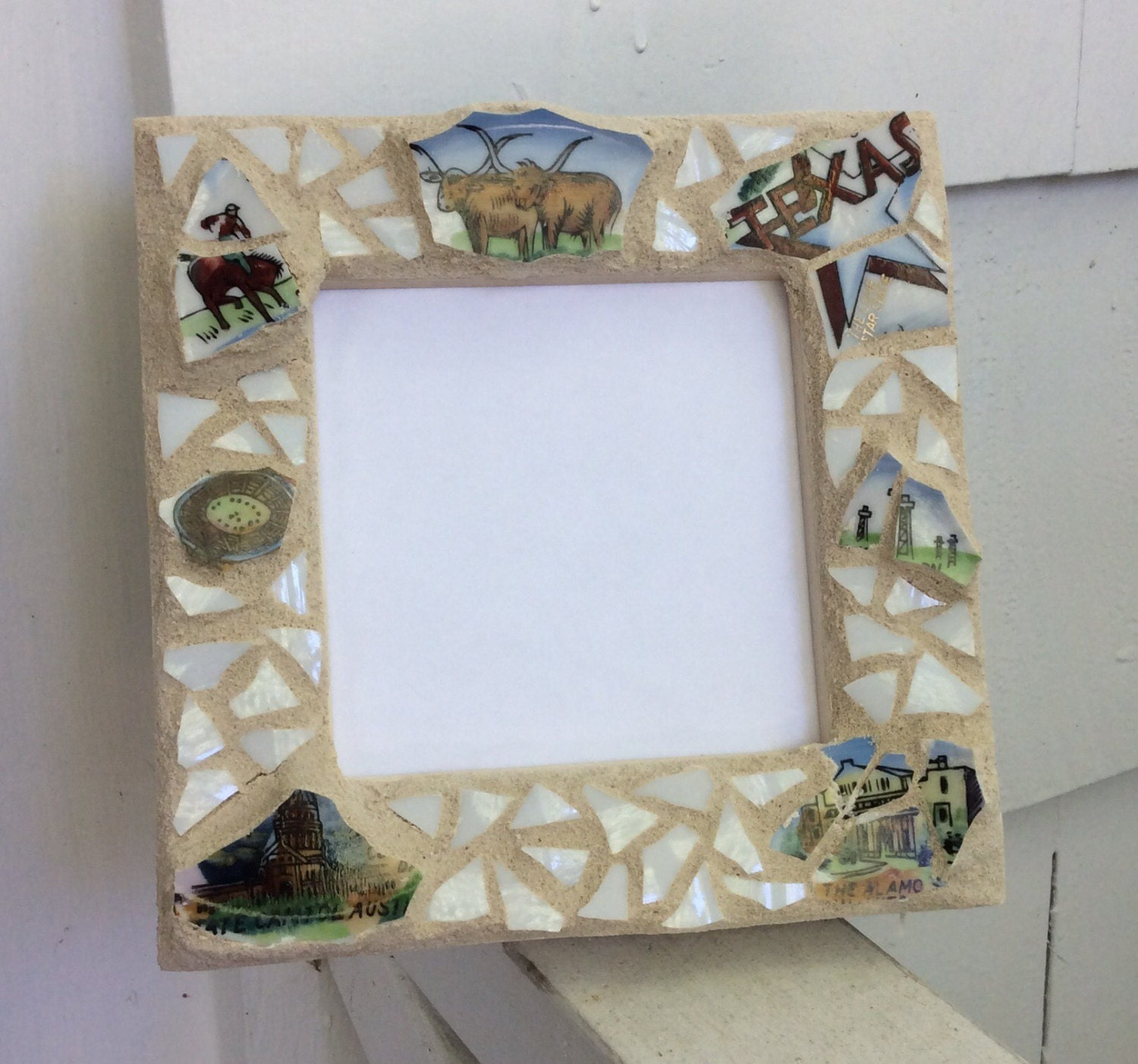 Mosaic Picture Frame Texas made from recycled souvenir plate | Etsy